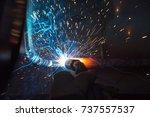 welder  craftsman  erecting... | Shutterstock . vector #737557537