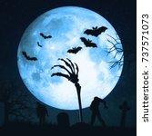 helloween zombie hand ... | Shutterstock . vector #737571073