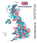 united kingdom map and flag  ... | Shutterstock .eps vector #737573713