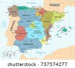 spain map   detailed vector... | Shutterstock .eps vector #737574277