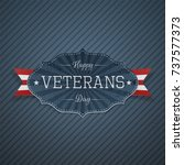 happy veterans day paper label | Shutterstock .eps vector #737577373