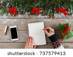 christmas wish list writing.... | Shutterstock . vector #737579413