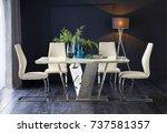 elegant dining room design.... | Shutterstock . vector #737581357