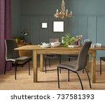 elegant dining room design.... | Shutterstock . vector #737581393