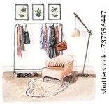 watercolor interior sketch of... | Shutterstock . vector #737596447