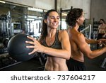 smiling cheerful happy workout... | Shutterstock . vector #737604217