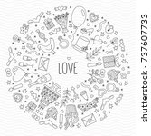 doodle romance love wedding... | Shutterstock .eps vector #737607733