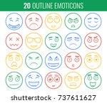 set of outline emoticons  emoji ...   Shutterstock .eps vector #737611627