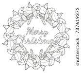 merry christmas black and white ... | Shutterstock .eps vector #737619373