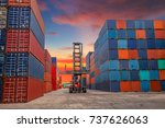 crane lifting up container in... | Shutterstock . vector #737626063