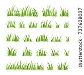 set of green grass isolated on... | Shutterstock .eps vector #737628037