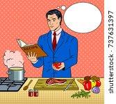 businessman cooking food pop... | Shutterstock .eps vector #737631397