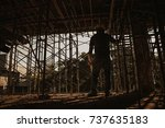 engineer working on building... | Shutterstock . vector #737635183