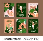 christmas cards with dancing... | Shutterstock .eps vector #737644147
