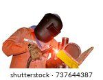 welding steel worker tig argon... | Shutterstock . vector #737644387