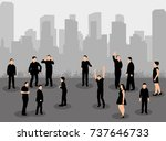 isolated silhouette of people... | Shutterstock .eps vector #737646733