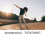beautiful slender girl with... | Shutterstock . vector #737676967