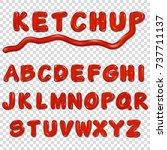 alphabet written by ketchup...   Shutterstock .eps vector #737711137