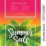 hello summer   vector leaflet ... | Shutterstock .eps vector #737713387