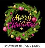 merry christmas wreath   modern ... | Shutterstock .eps vector #737713393
