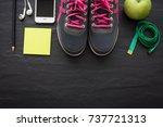 fitness healthy concept... | Shutterstock . vector #737721313