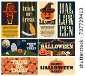 vintage halloween party...   Shutterstock .eps vector #737729413