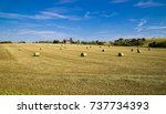 Straw Bales On The Field.