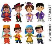 cartoon children in traditional ... | Shutterstock .eps vector #737736697