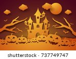 halloween with castle and... | Shutterstock .eps vector #737749747