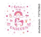 pink unicorn with vector... | Shutterstock .eps vector #737765863