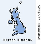 uk map outline   smooth... | Shutterstock .eps vector #737769697