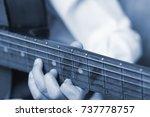 teen boy play the guitar music... | Shutterstock . vector #737778757