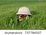 little boy with binoculars and... | Shutterstock . vector #737784337