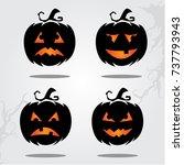 happy halloween  halloween card ... | Shutterstock .eps vector #737793943