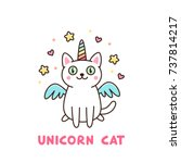 Stock vector cute white cat in a unicorn costume with wings and rainbow horn it can be used for sticker patch 737814217