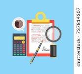 workplace vector illustration  ... | Shutterstock .eps vector #737814307