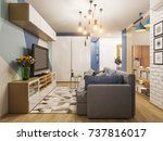 3d illustration living room and ... | Shutterstock . vector #737816017
