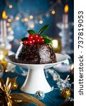 christmas pudding decorated... | Shutterstock . vector #737819053