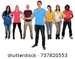 young happy people friends... | Shutterstock . vector #737820553