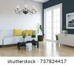 blue scandinavian room interior.... | Shutterstock . vector #737824417