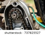 repair of motorcycle and spare... | Shutterstock . vector #737825527