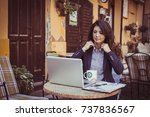 young business woman working at ... | Shutterstock . vector #737836567