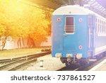 fog and sun shine on the retro...   Shutterstock . vector #737861527