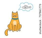 the cat thinks about the fish | Shutterstock .eps vector #737861773