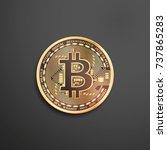 bitcoin golden coin. isolated... | Shutterstock .eps vector #737865283