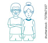 couple casual avatars characters | Shutterstock .eps vector #737867107