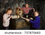 three children in quest game...   Shutterstock . vector #737870683
