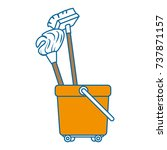 toilet trolley with broom and... | Shutterstock .eps vector #737871157