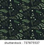 seamless pattern of eucalyptus... | Shutterstock .eps vector #737875537