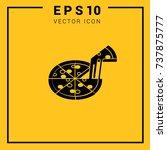 pizza icon. logo design. simple ... | Shutterstock .eps vector #737875777